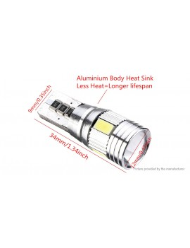 T10 6*5630 SMD LED Car Wedge License Side Light Bulb (Pair)