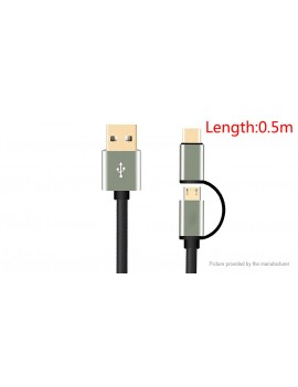 JDB 2-in-1 Micro-USB/USB-C to USB 2.0 Data Sync / Charging Cable (50cm)