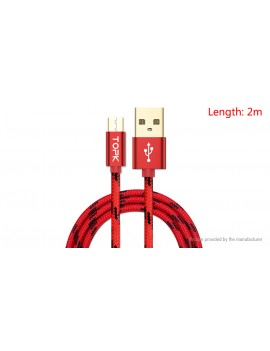 TOPK Micro-USB to USB 2.0 Nylon Braided Data Sync / Charging Cable (200cm)